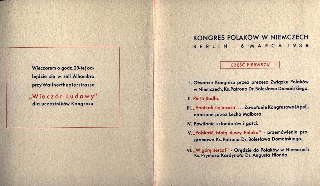 Program I Kongresu Polaków w Niemczech, Źródło: https://berlin.msz.gov.pl